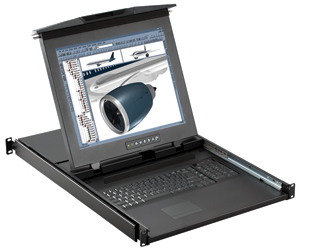 1u Dual Slide CyberView TFT, Keyboard & Mouse Console Drawer