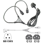 Mains Lead UK 13Amp - 2x Female IEC (Y) 2.5m