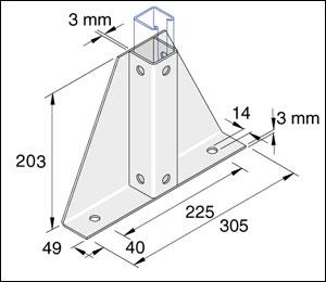 Unistrut P2348-S1 Unistrut Delta Channel Base Floor Bracket Fitting
