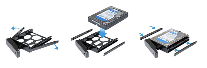 Easy hard drive installation and hot-swappable support