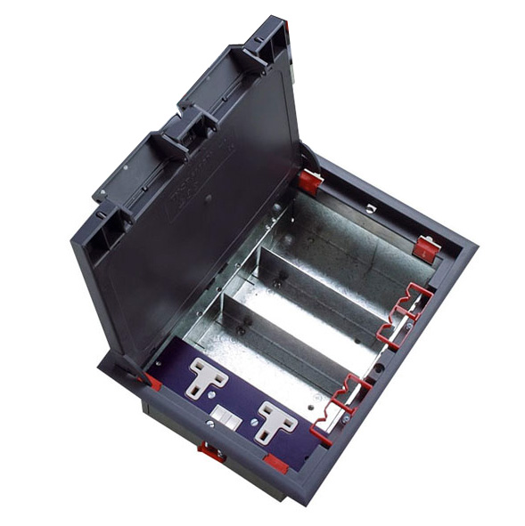 Excel four compartment floor box with 1 x twin power for 1 compartment floor box