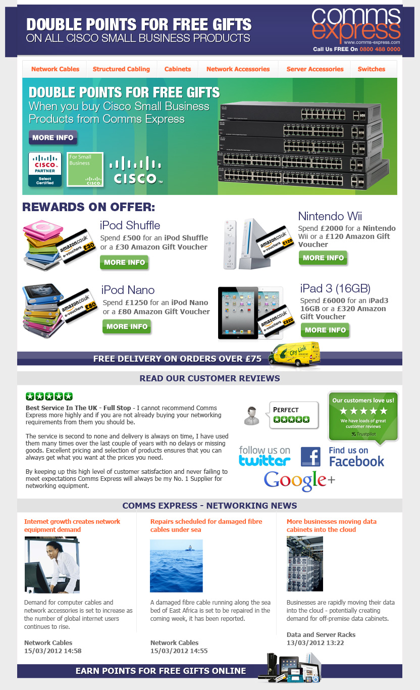 Cisco Small Business Double Points in April