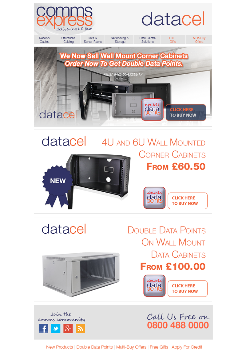 We Now Sell Datacel Wall Mounted Corner Cabinets