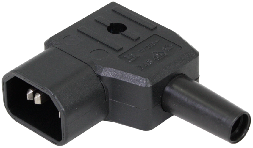 IEC C14 Male Left Angled Rewireable Connector