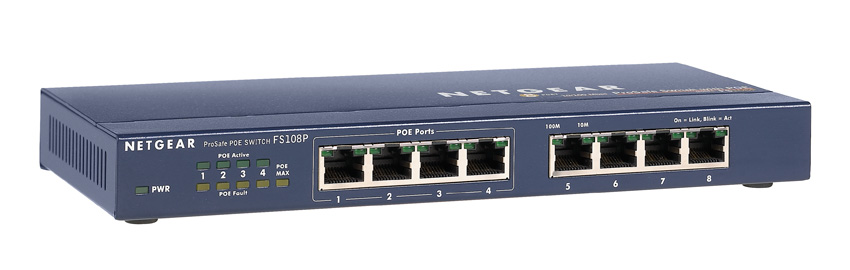 Netgear FS108P - 8 Port Unmanaged Fast Ethernet Switch with PoE