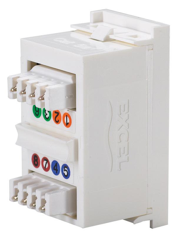 excel utp rj45 cat5e shuttered module 25mm x 50mm comms express utp rj45 cat5e shuttered module