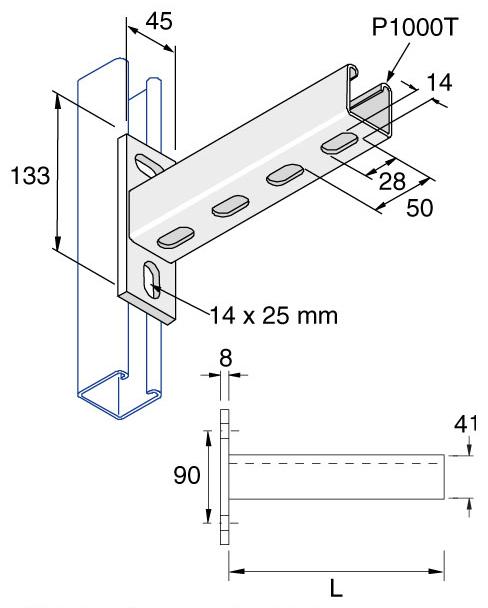 unistrut p2663t  300 unistrut slotted cantilever arm
