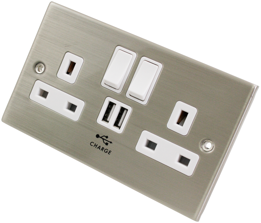 Chrome Finish Double Gang UK Mains Wall Socket with built in USB Charging Ports 2A