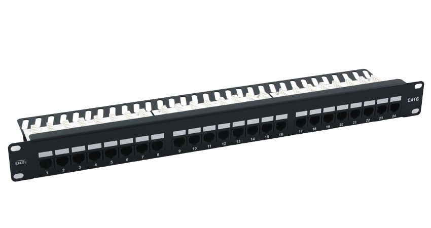 Excel 24 Port Cat6 Patch Panel - 1u UTP Right Angled