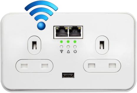 Power Ethernet Powerline Pro Socket Wifi 2 X Uk Power