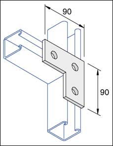 Unistrut Flat Plate Right Angle Bracket 3 Hole Hot Dip Galvanised, Pack of 10