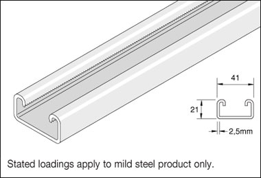 Unistrut P3300 Standard Duty 41mm x 21mm Plain Channel, 3m