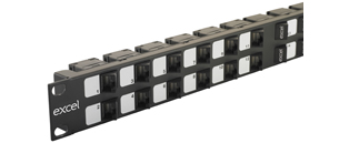 Excel 24 Port 1U Angled Unloaded UTP Keystone Frame - Black
