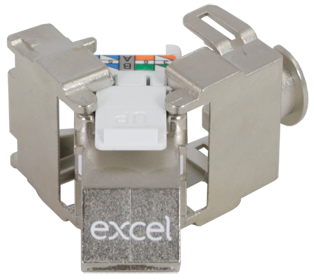 Excel Cat6A STP Angled Keystone Toolless Jack,Butterfly