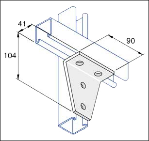 Unistrut 90 Degree Gusset Angle Bracket 7 Hole Hot Dip Galvanised, Packs of 10