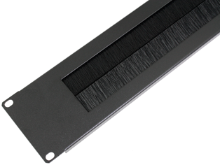 2U 19 inch Rackmount Brush Strip Panel, Black