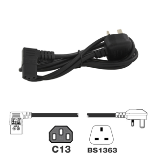 UK Mains Lead (5Amp) - Right Angled IEC C13 Lead