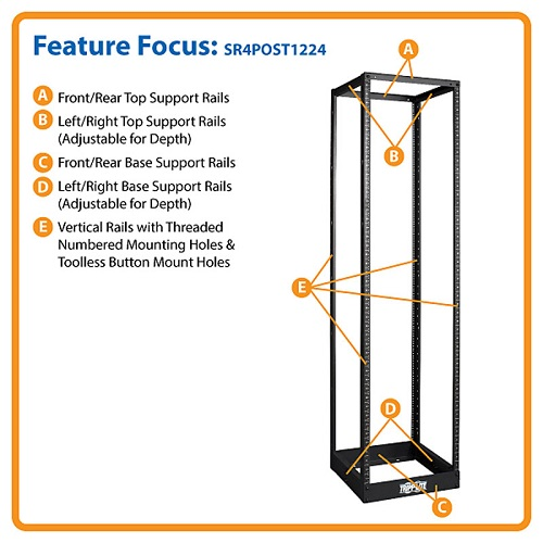 Tripp Lite 45U SmartRack 4-Post Open Frame Rack - Threaded 12-24 Mounting Holes