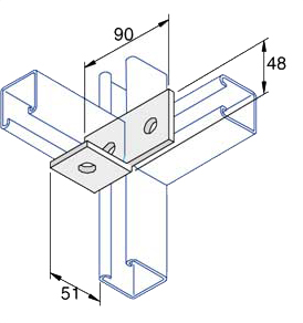 Unistrut P1038 Unistrut 90 Degree Angle Bracket 4 Hole (3x1) Hot Di