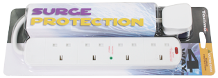 4 Way Surge Protected Mains Extension Leads
