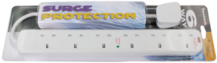 6 Way Surge Protected Mains Extension Leads