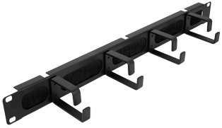 1U 19 Inch Rackmount Cable Tidy With Brush Strip