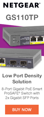 Netgear GS110TP. Low Port Density Solution. 8-Port Gigabit PoE Smart ProSAFE Switch with 2x Gigabit SFP Ports