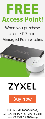 Free Access Point whwn you purchase selected* Smart Manged PoE Switches by Zyxel. *Models GS192024HPv2, GS192048HPv2, XGS1930-28HP and XGS1930-52HP only. BUY NOW