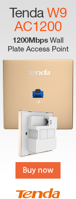 Tenda W9 AC1200 1200Mbps Wall Plate Access Point. Two 10/100Mbps LAN ports. Wireless N300 Speed. Wi_Fi 802.11ac. Compliant with PoE 802.3af standard.