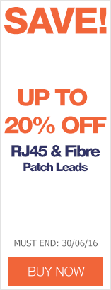 Save up to 20% on RJ45 & Fibre Patch Leads