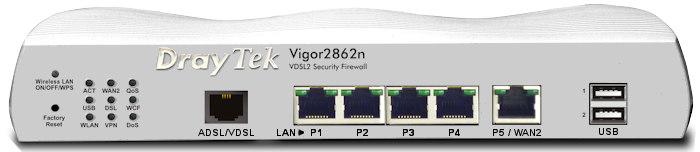 Vigor 2862 VDSL/ADSL Router/Firewall & 5 Port Gigabit Switch with WiFi 802.11ac & built-in 3G/4G (LTE) SIM slot & 4 x Wireless LAN