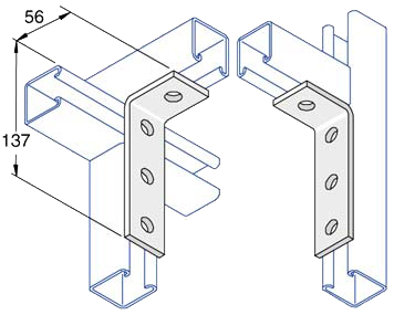Unistrut 90 Degree Angle Bracket 4 Hole (2x2) Hot Dip Galvanised