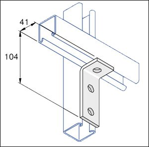 Unistrut 90 Degree Angle Bracket 3 Hole (2x1) Hot Dip Galvanised, Packs of 10