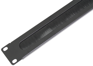1U 19 inch Rackmount Brush Strip Panel, Black