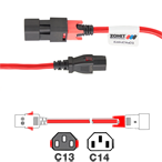 Zonit zLock IEC 320 Dual Locking Cable C14 - C13, Red