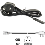 2m UK Mains - Figure 8 (C7) Power Lead