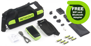 NetScout LinkRunner G2 Smart Network Tester Extended Test Kit w/ Free Bluetooth and WiFi Adapter