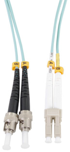 LC - ST Connector Multimode Duplex Fibre Patch Leads