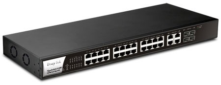 DrayTek VigoprSwitch P-2280 PoE Gigabit Ethhernet Switch Layer 2 fully managed, High-Power PoE with